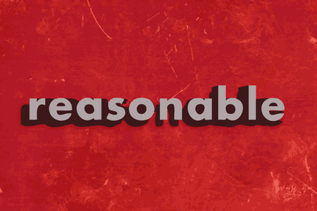 reasonable: reasonable vector word on red concrete wall