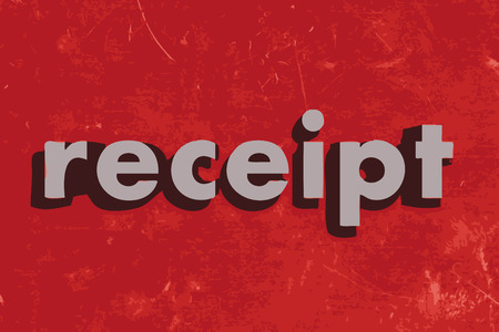 receipt: receipt vector word on red concrete wall Illustration