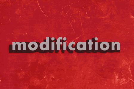modificaci�n: palabra vector modificaci�n en rojo muro de hormig�n