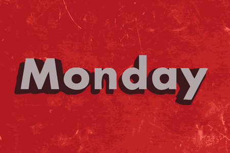 monday: Monday vector word on red concrete wall