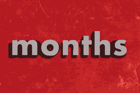 months: months vector word on red concrete wall