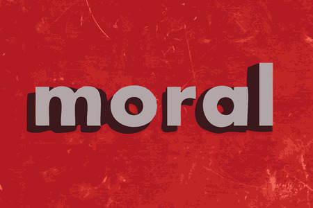 moral: moral vector word on red concrete wall Illustration