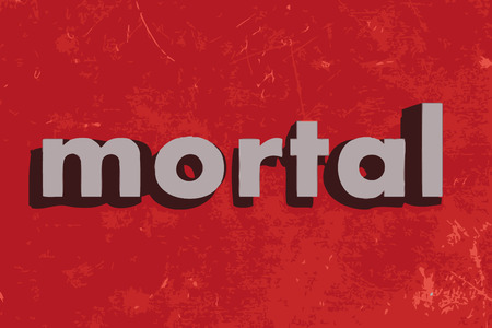 mortal: mortal vector word on red concrete wall