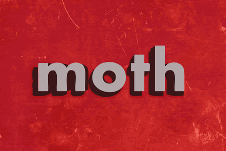 moth: moth vector word on red concrete wall