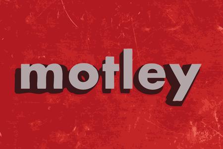 motley: eterogeneo parola vettore sul muro di cemento rosso Vettoriali