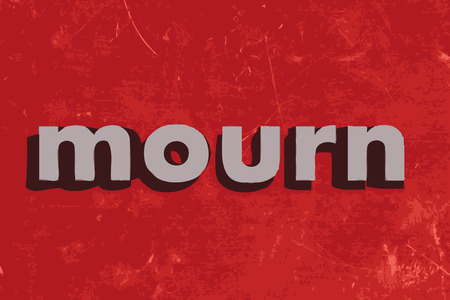 mourn: mourn vector word on red concrete wall