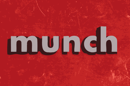 munch: munch vector word on red concrete wall