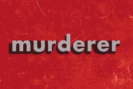 murderer: murderer vector word on red concrete wall Illustration