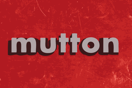 mutton: mutton vector word on red concrete wall