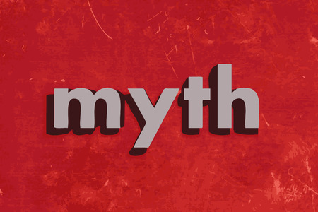 myth: myth vector word on red concrete wall Illustration