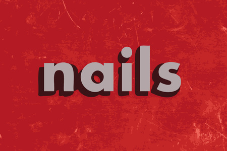 grey nails: nails vector word on red concrete wall
