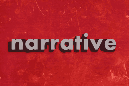 narrative: narrative vector word on red concrete wall