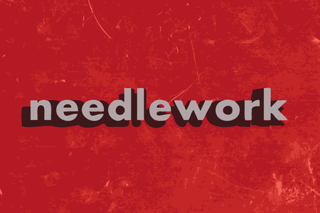 needlework: needlework vector word on red concrete wall Illustration