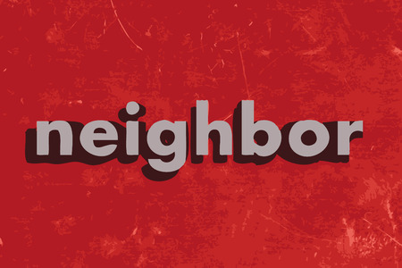 neighbor: neighbor vector word on red concrete wall