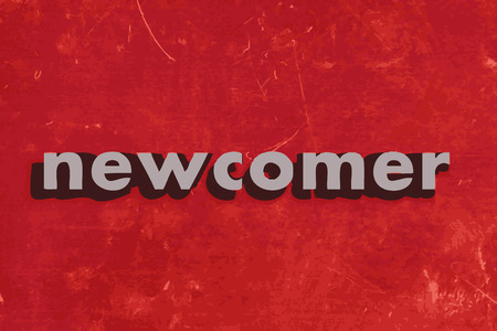 newcomer: newcomer vector word on red concrete wall