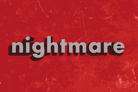 nightmare: nightmare vector word on red concrete wall Illustration