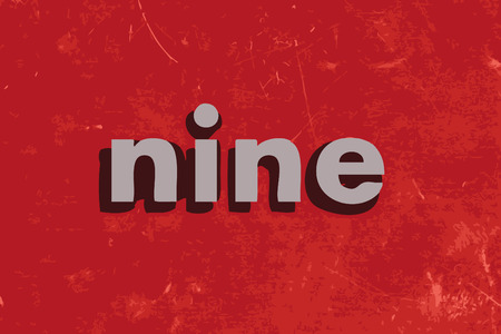 nine: nine vector word on red concrete wall