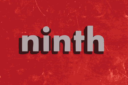 ninth: ninth vector word on red concrete wall Illustration
