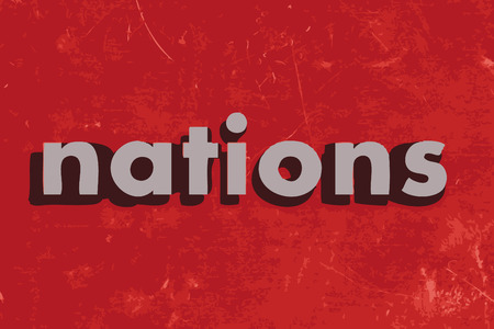 nations: nations vector word on red concrete wall