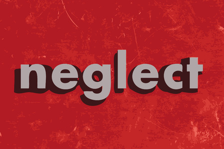 neglect: neglect vector word on red concrete wall