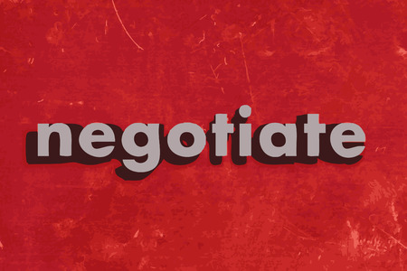 negotiate: negotiate vector word on red concrete wall Illustration