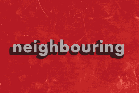neighbouring: neighbouring vector word on red concrete wall Illustration