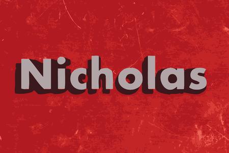 nicholas: Nicholas vector word on red concrete wall