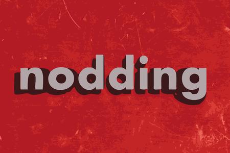 nodding: nodding vector word on red concrete wall Illustration