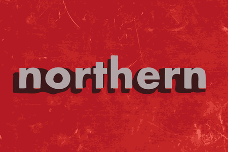 northern: northern vector word on red concrete wall Illustration