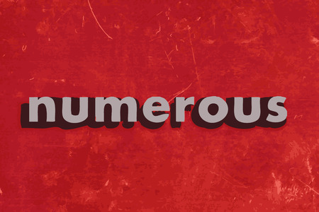 numerous: numerous vector word on red concrete wall