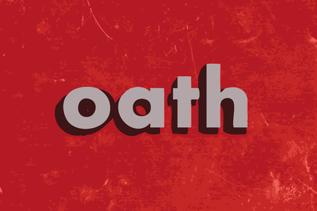 oath: oath vector word on red concrete wall Illustration