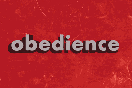 obedience: obedience vector word on red concrete wall