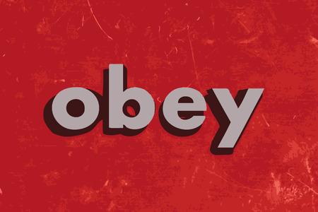 obey: obedecer la palabra del vector en rojo muro de hormig�n Vectores