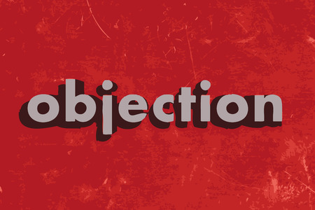 objection: objection vector word on red concrete wall