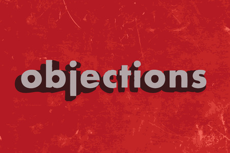 objections: objections vector word on red concrete wall