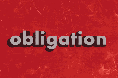 obligation: obligation vector word on red concrete wall