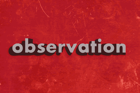 observation: observation vector word on red concrete wall Illustration