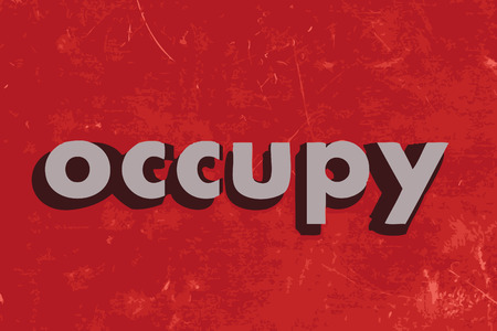 occupy: occupy vector word on red concrete wall