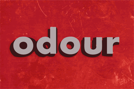 odour: odour vector word on red concrete wall Illustration