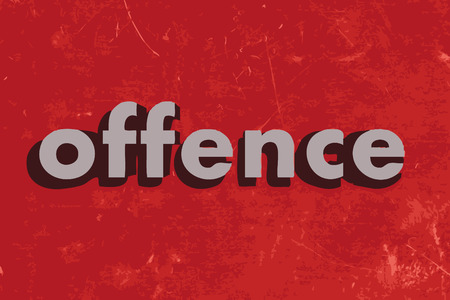offence: offence vector word on red concrete wall Illustration