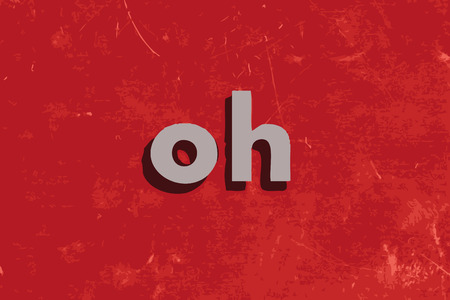 oh: oh vector word on red concrete wall