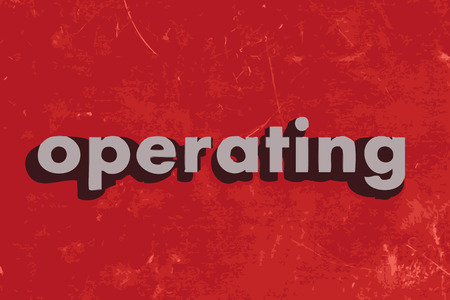operate: operating vector word on red concrete wall