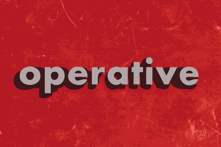 operative: operative vector word on red concrete wall