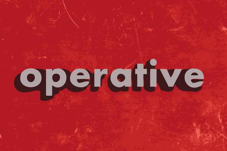 operante: operatorio parola vettoriale su muro di cemento rosso Vettoriali