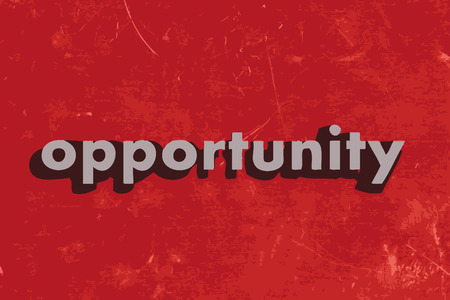 opportunity: opportunity vector word on red concrete wall
