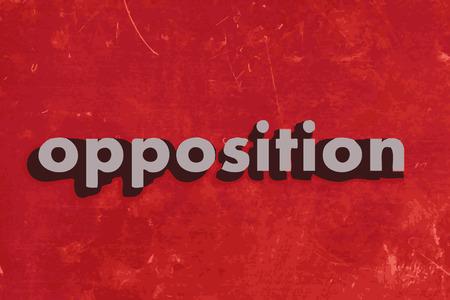 反対: 赤いコンクリートの壁に反対ベクトル単語