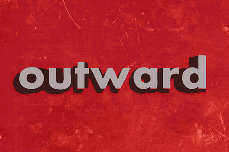 outward: outward vector word on red concrete wall Illustration