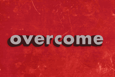overcome: overcome vector word on red concrete wall