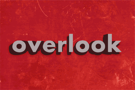 overlook: overlook vector word on red concrete wall