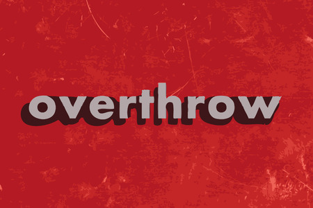 overthrow: overthrow vector word on red concrete wall
